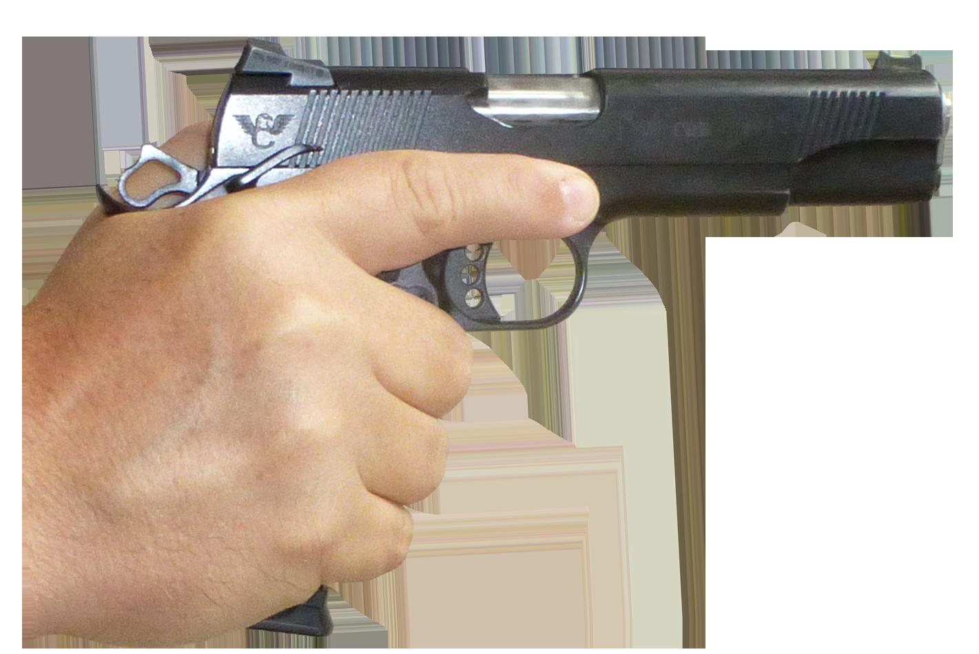 Gun In Hand PNG Image.