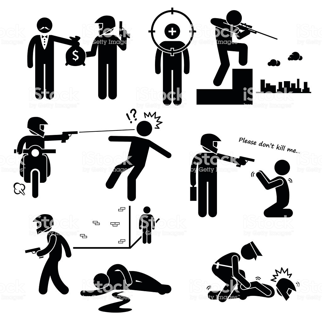 Assassination Hitman Killer Murder Gunman Stick Figure Pictogram Icons  Stock Illustration.