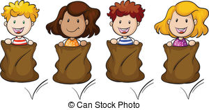 Potato Sack Race Clipart.