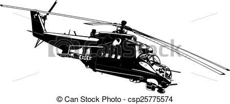 Vectors Illustration of attack helicopter Mi.