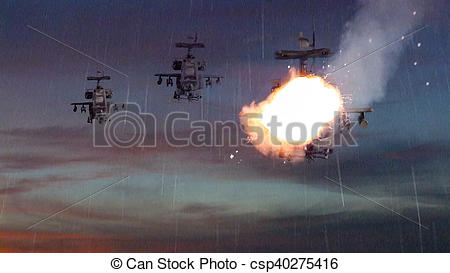 Clipart of Military gunships being hit by missile and exploding.
