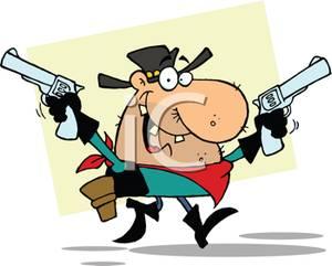 Colorful Cartoon of a Gunslinger.