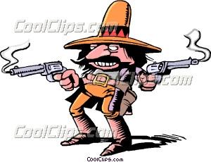 Cartoon gunslinger Clip Art.