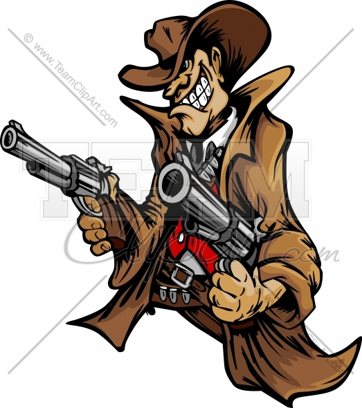 Gunslinger Clipart Clipart Cartoon Image. Vector Format..
