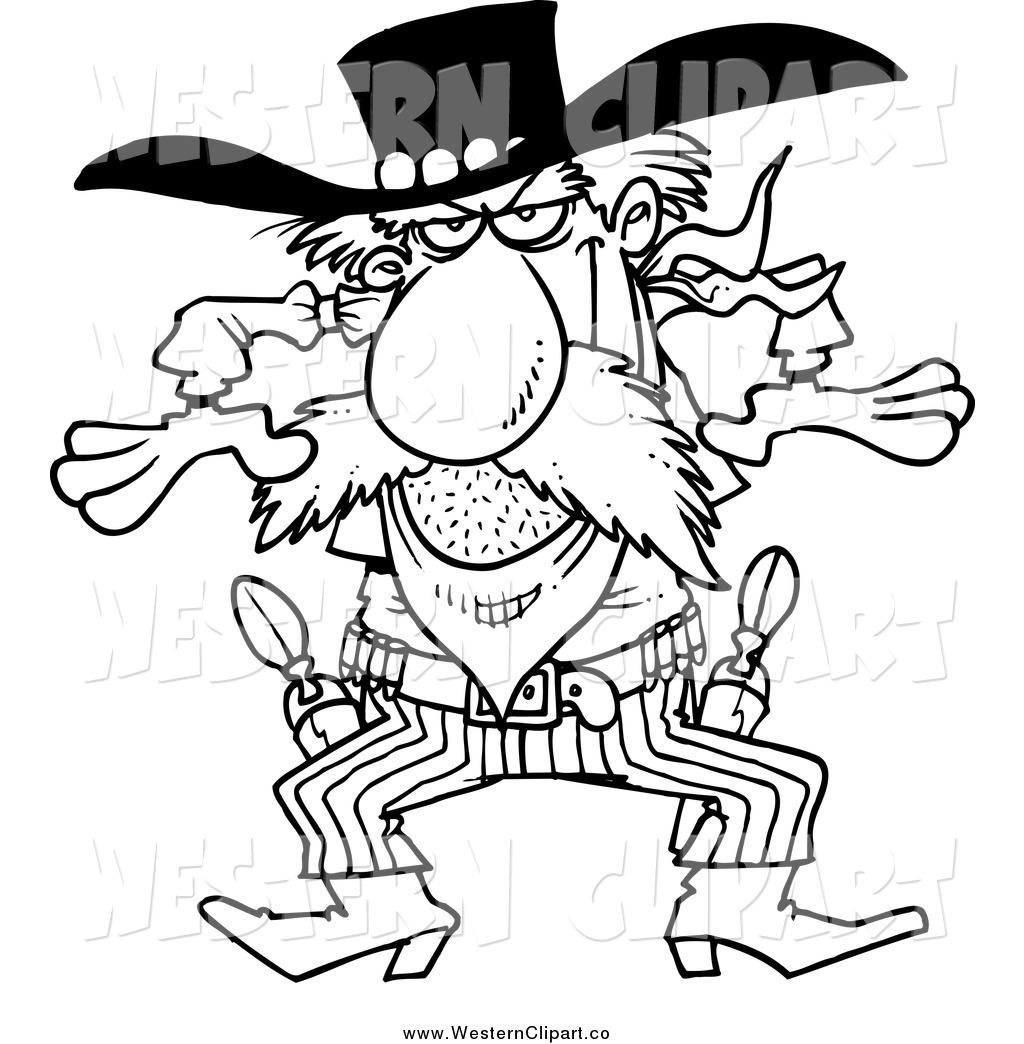 Gunslinger black and white logo clipart.