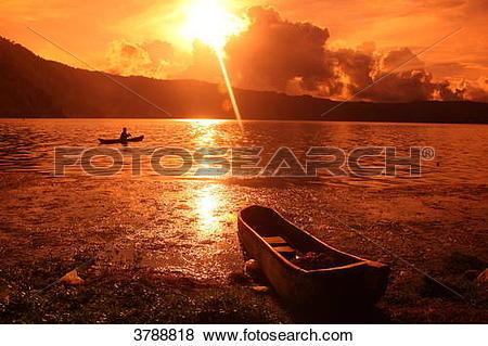 Pictures of Sunset at the Vulcano Gunung Batur, Bali, Indonesia.