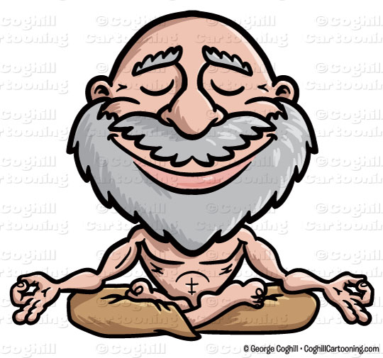 Cartoon Meditating Guru Clip Art Stock Illustration.