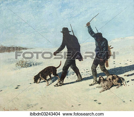 "Stock Photo of ""Poachers in the snow, Gustave Courbet, 1867, oil."