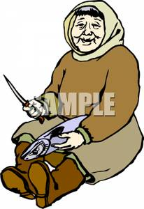Elderly Eskimo Woman Gutting a Fish Clipart Image.