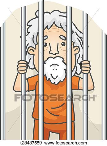 Senior Man Jail Clip Art.