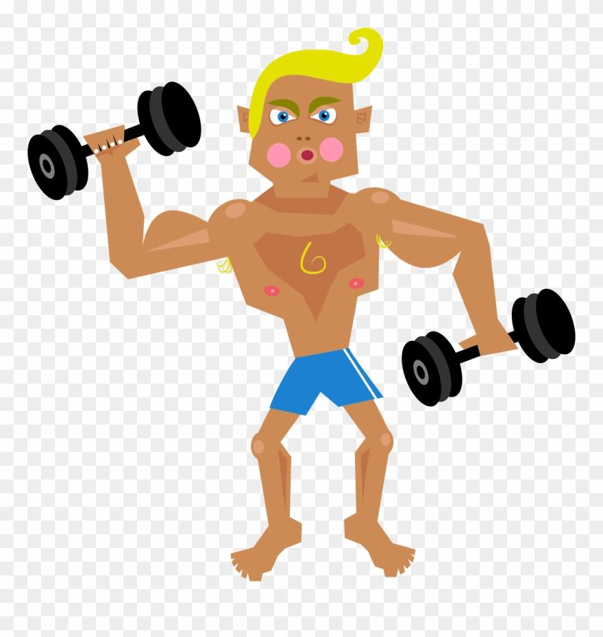 Man Lifting Weights Clip Art.