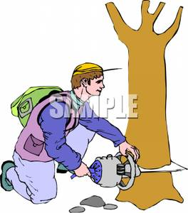Guy Cutting A Tree Clipart.