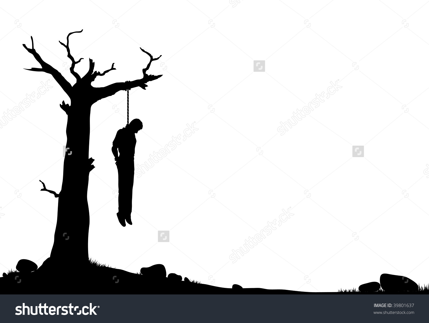 Man hanging by a rope clipart.