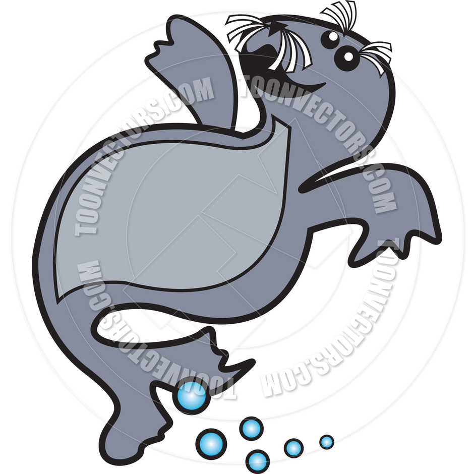 Cartoon Seal Swimming Vector Illustration by Clip Art Guy.
