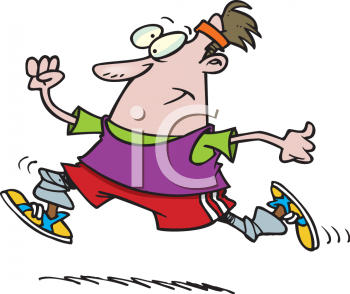 Royalty Free Clip Art Image: Fat Guy Running to Get in Shape.