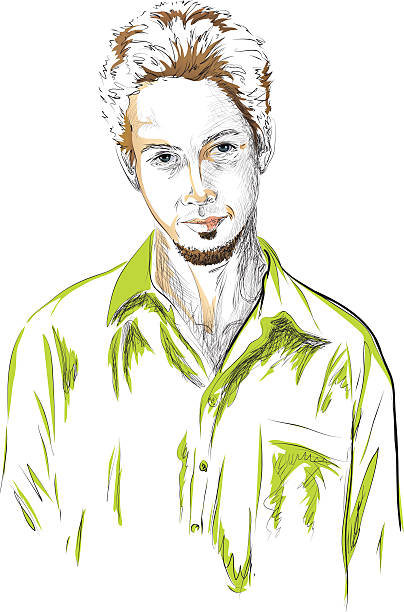 Drawing Of The Man With Blue Eyes Clip Art, Vector Images.