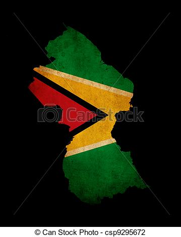 Clip Art of Outline map of Guyana with grunge flag insert isolated.