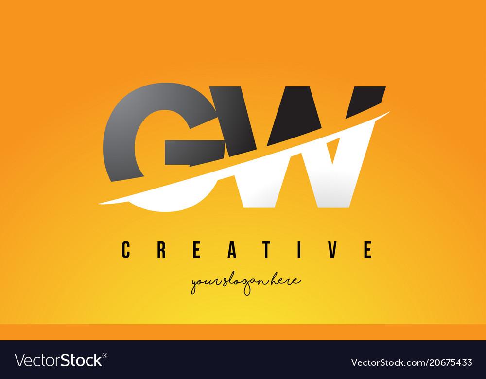 Gw g w letter modern logo design with yellow.