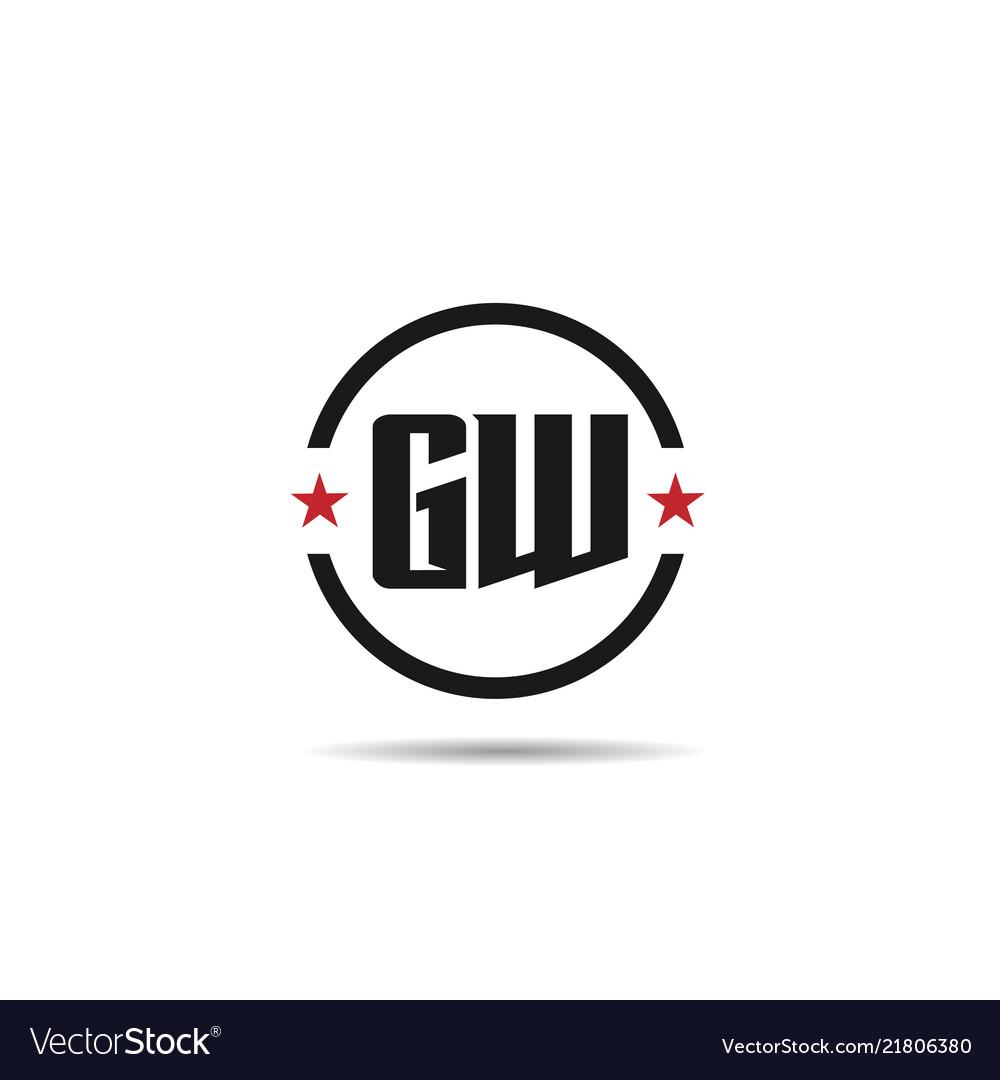 Initial letter gw logo template design.
