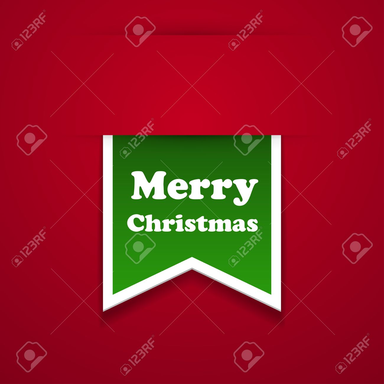 Vector Ribbon Merry Christmas Sticker Royalty Free Cliparts.