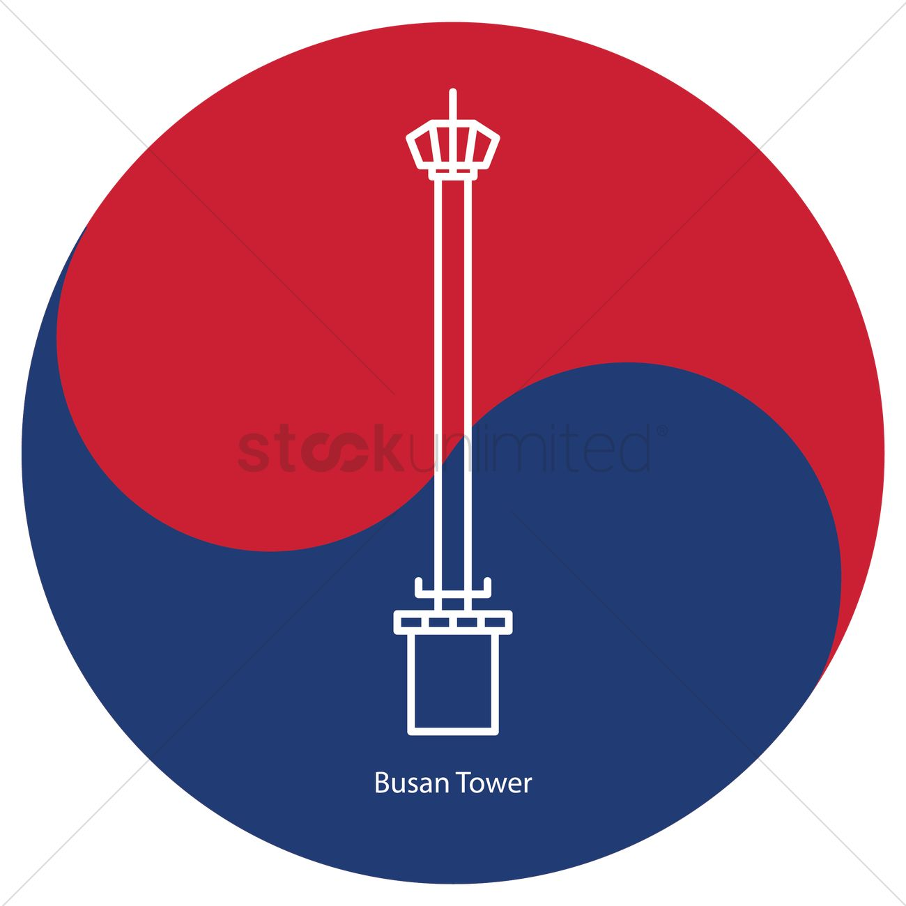 Busan tower Vector Image.