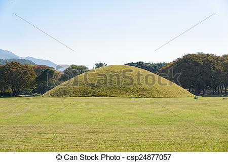 Stock Images of Silla tombs in Gyeongju.