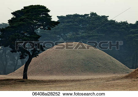 Stock Photo of Royal Tomb of King Naemul of Silla, Korea,Gyeongju.