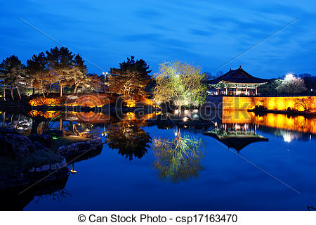 Picture of Beautiful night view in South Korea,Gyeongju,Bomunjeong.