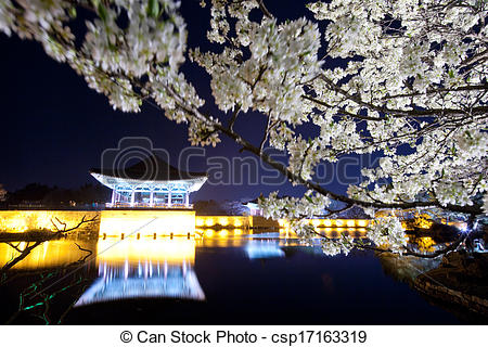 Stock Photography of Beautiful night view in South Korea,Gyeongju.
