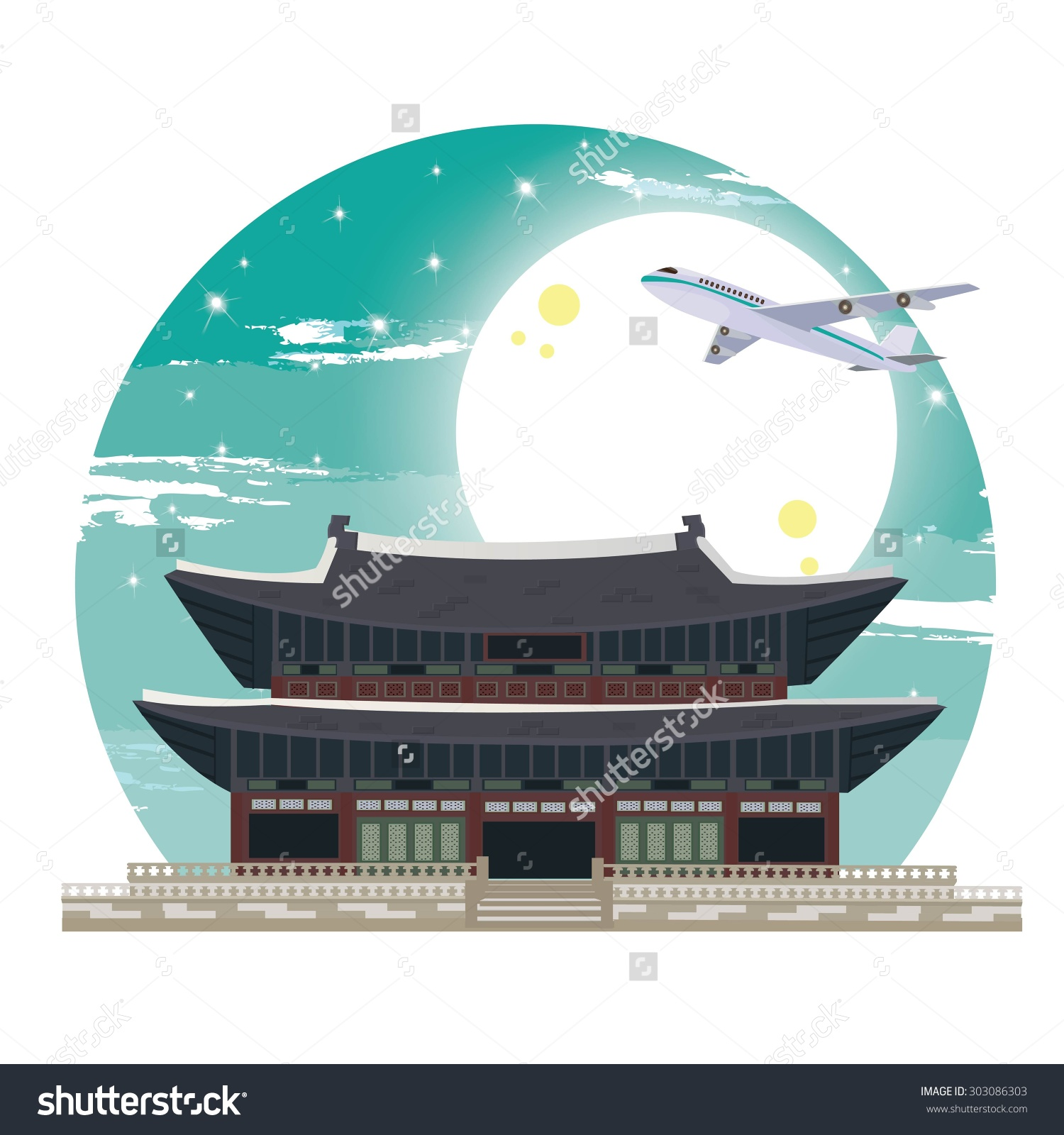 Illustration Gyeongbokgung Palace Stock Vector 303086303.