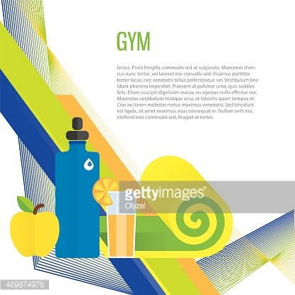 Sport gym background about healthy food, water, training.