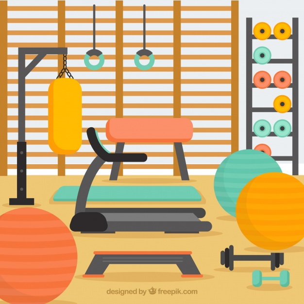 Sport gym background with exercise machines Vector.