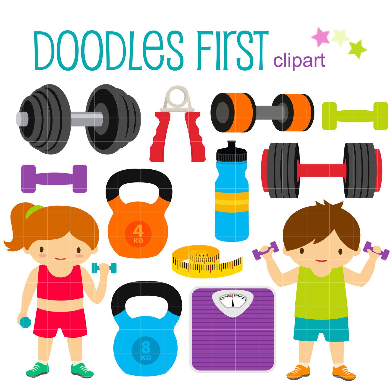 Fitness Gym DIgital Clip Art for Scrapbooking Card Making.