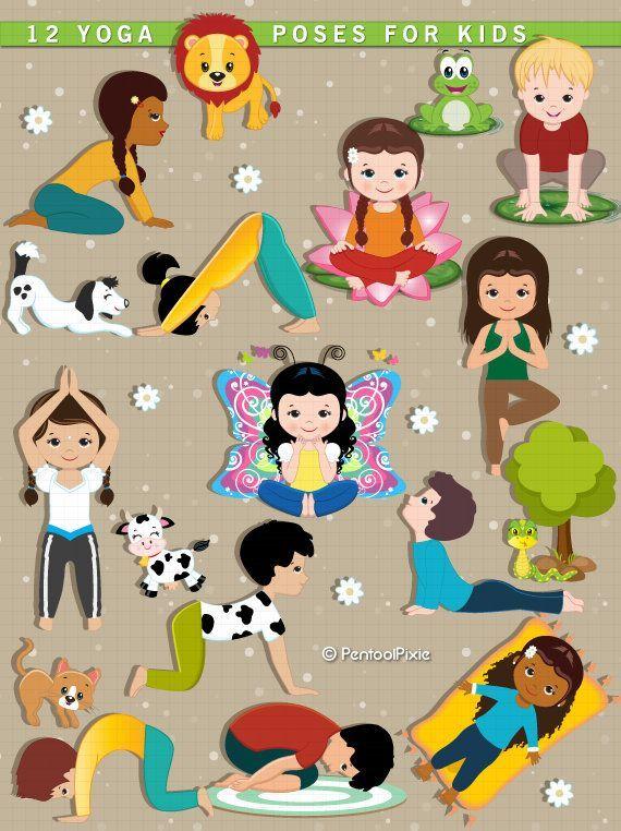 Yoga clipart, Kids Yoga, Meditation, Excercise clipart, Yoga.