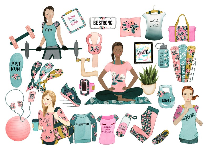 fitness clipart, gym clipart,planner clipart, spring clipart, fashion  clipart, feminine clipart, womens clipart, office clipart, clipart.
