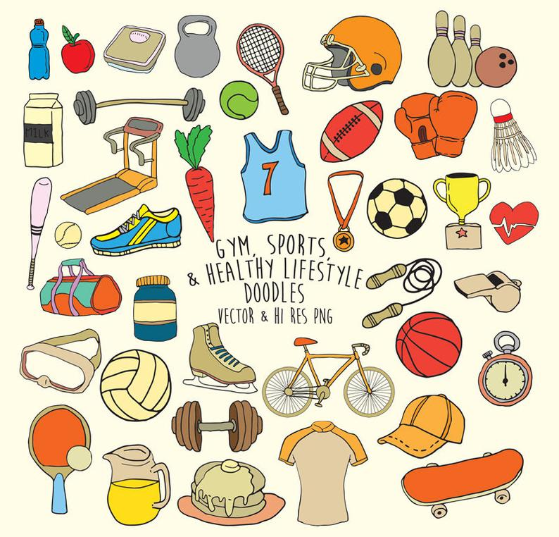 Doodle Gym Clipart, Sports Clipart, Fitness Clipart, Fitness Doodle  Clipart, Scribble Sports Clip Art PNG & Vector EPS AI Design Element.