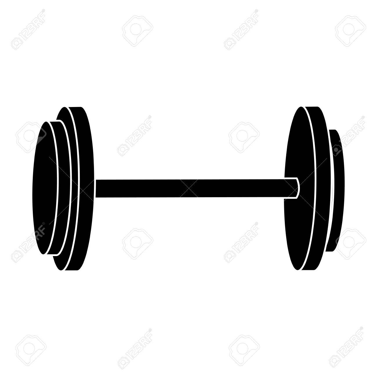 dumbbell weight gym equipment image silhouette vector illustration.