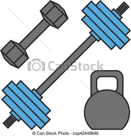 Dumbbell exercise weights gym fitness equipment vector..