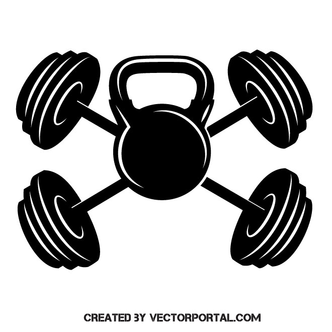 Kettlebell and weights.