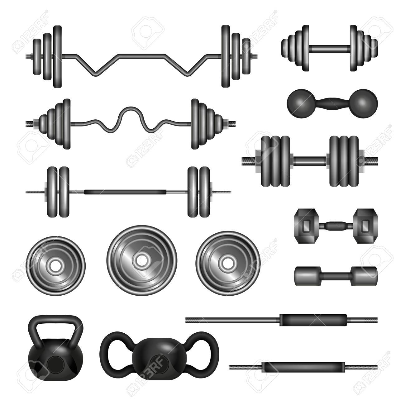 Set of gym equipment.