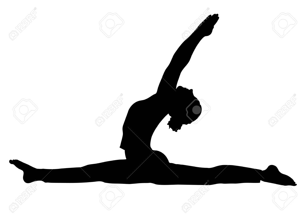 Yoga pose, woman to do the splits silhouette, vector outline...