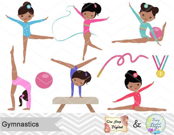 Gymnastics Digital Clipart Digital Girls by OneStopDigital.