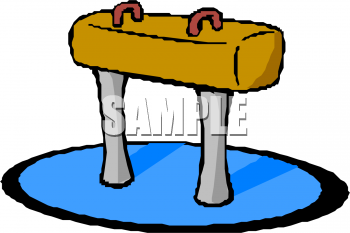 Clipart Picture of a Gymnast's Pommel Horse.
