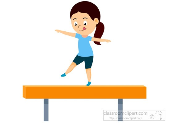 Female athlete practicing on balance beam clipart » Clipart Portal.