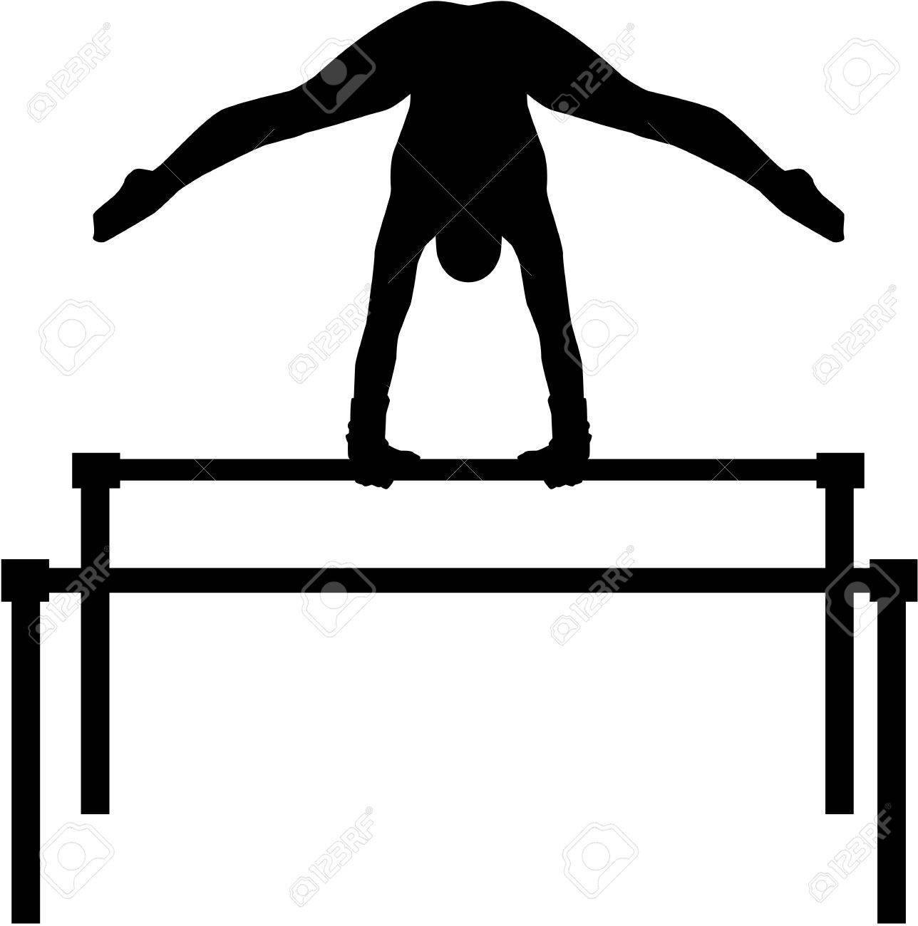 Uneven bars with gymnast.