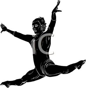 A Black Silhouette of a Girl Gymnast Performing the Splits.