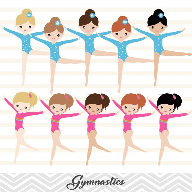 Girls Gymnastics Digital Clip Art, Gymnast Girl Clipart, 00192.