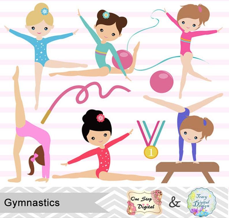 Instant Download Girls Gymnastics Digital Clipart, Gymnastic Girl Clip Art,  Gymnastics Digital Clip Art, Digital Gymnast Girl Clip Art, 0192.