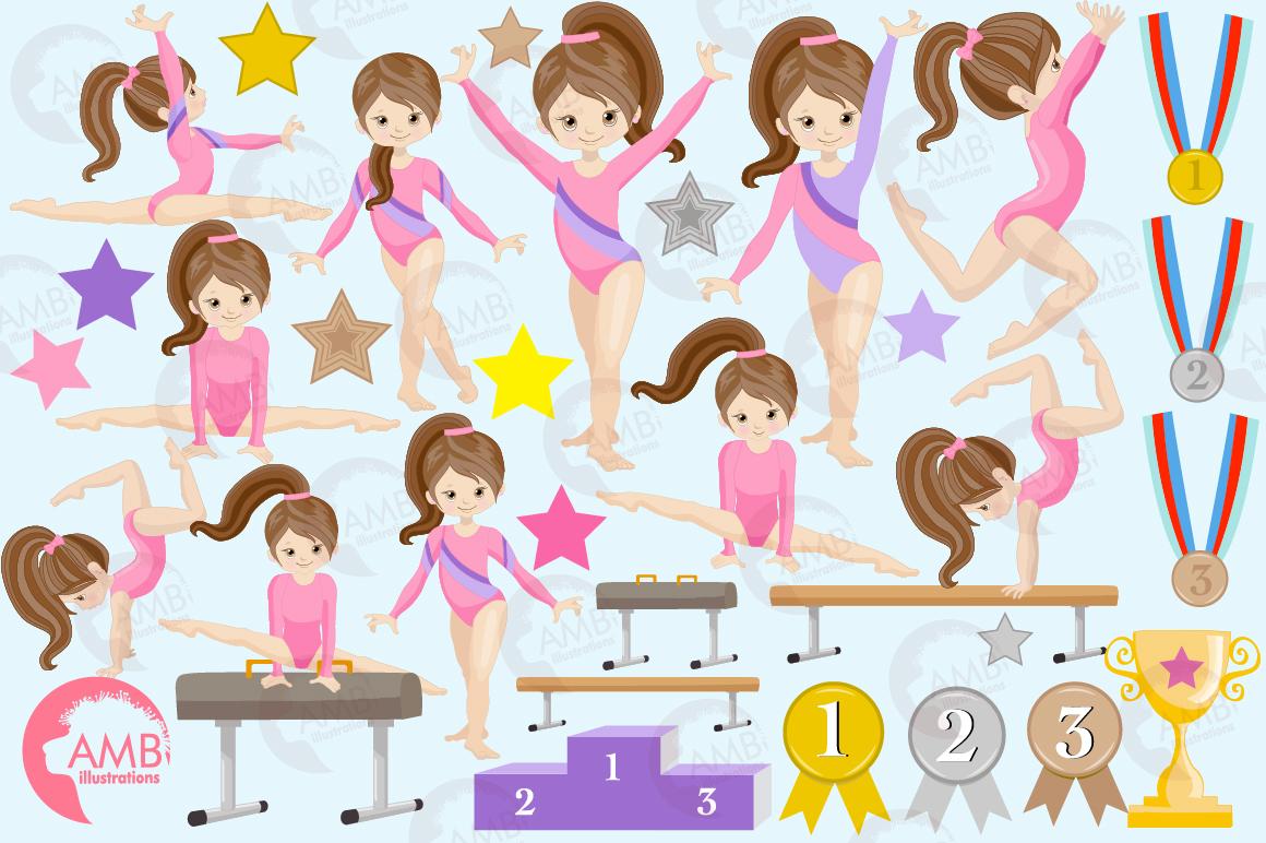 Gymnastic Girls clipart, Gymnast mini bundle, Gymnast clipart, vector  graphics, instant download, AMB.