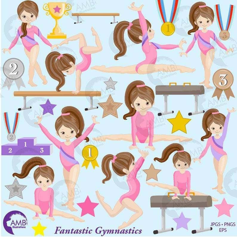 Gymnastic Girls clipart, Gymnast mini bundle, Girl gym, Gymnast clipart,  vector graphics, digital clip art, instant download, AMB.